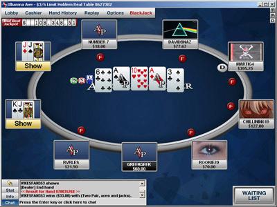Вид игрового стола на Absolute Poker