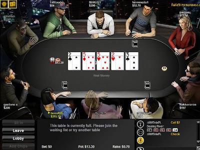Вид игрового стола на Bwin Poker