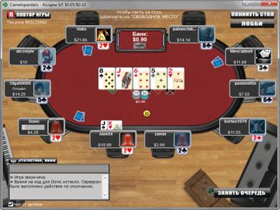 Вид игрового стола на Poker Mira