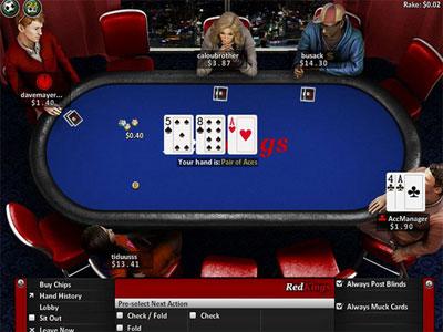 Вид игрового стола на Red Kings Poker