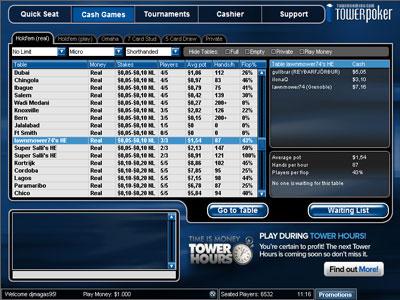 Лобби покер рума Tower Poker