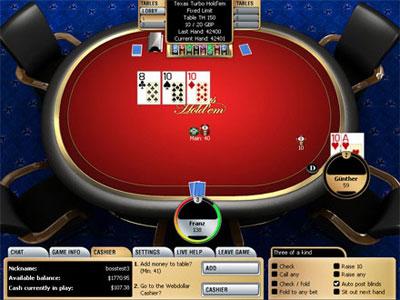 Вид игрового стола на Casino Club Poker.