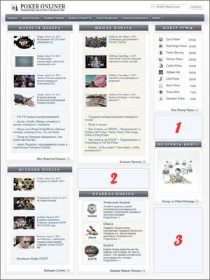 Рекламные места на главной странице портала