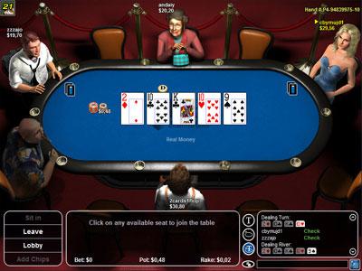 Вид игрового стола на Tower Poker.