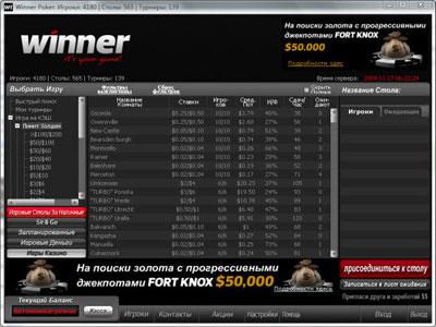Лобби покер рума Winner Poker.